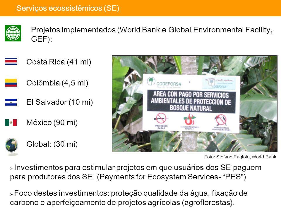 Global: (30 mi) El Salvador (10 mi) México (90 mi) Colômbia (4,5 mi) Serviços ecossistêmicos (SE) Projetos implementados (World Bank e Global Environmental Facility, GEF): Costa Rica (41 mi) Foto: Stefano Pagiola, World Bank  Foco destes investimentos: proteção qualidade da água, fixação de carbono e aperfeiçoamento de projetos agrícolas (agroflorestas).