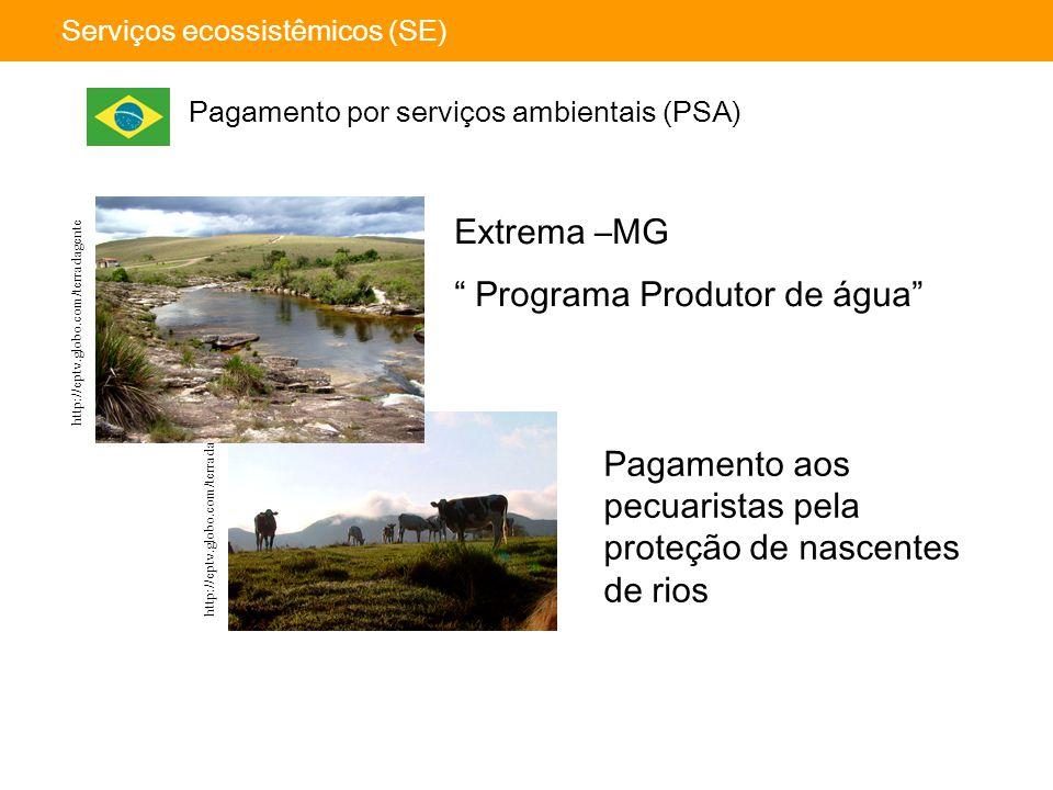 """http://eptv.globo.com/terradagente Serviços ecossistêmicos (SE) Pagamento por serviços ambientais (PSA) Extrema –MG """" Programa Produtor de água"""" Pagam"""