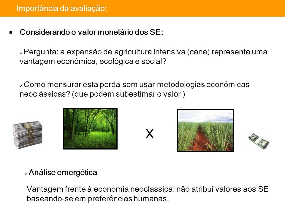 Importância da avaliação: Considerando o valor monetário dos SE:  Pergunta: a expansão da agricultura intensiva (cana) representa uma vantagem econôm