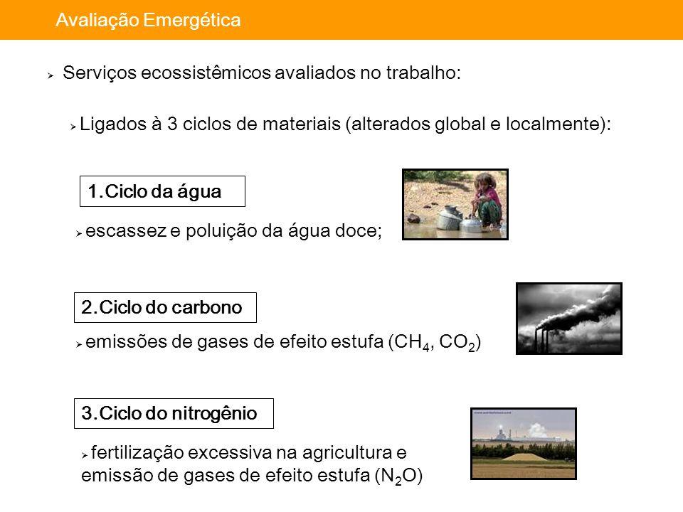Importância da avaliação: Avaliação Emergética  Serviços ecossistêmicos avaliados no trabalho: 1.Ciclo da água  escassez e poluição da água doce; 