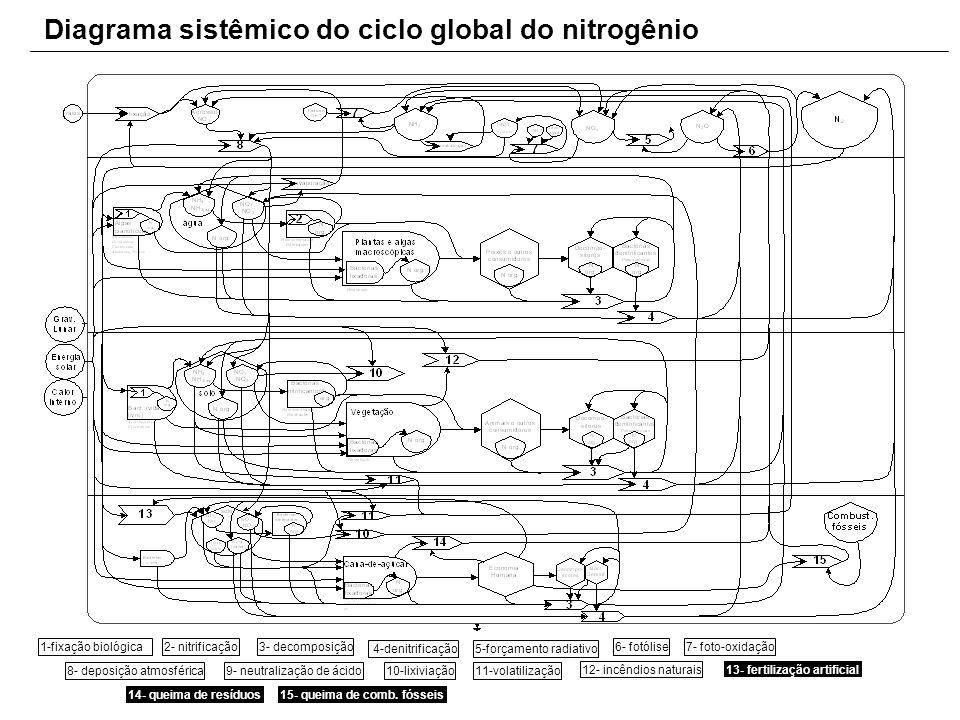 Diagrama sistêmico do ciclo global do nitrogênio 1-fixação biológica2- nitrificação3- decomposição 4-denitrificação5-forçamento radiativo 6- fotólise7