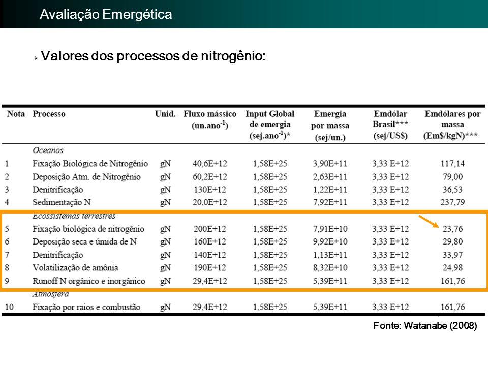 Importância da avaliação: Avaliação EmergéticaImportância da avaliação: Avaliação Emergética  Valores dos processos de nitrogênio: Fonte: Watanabe (2