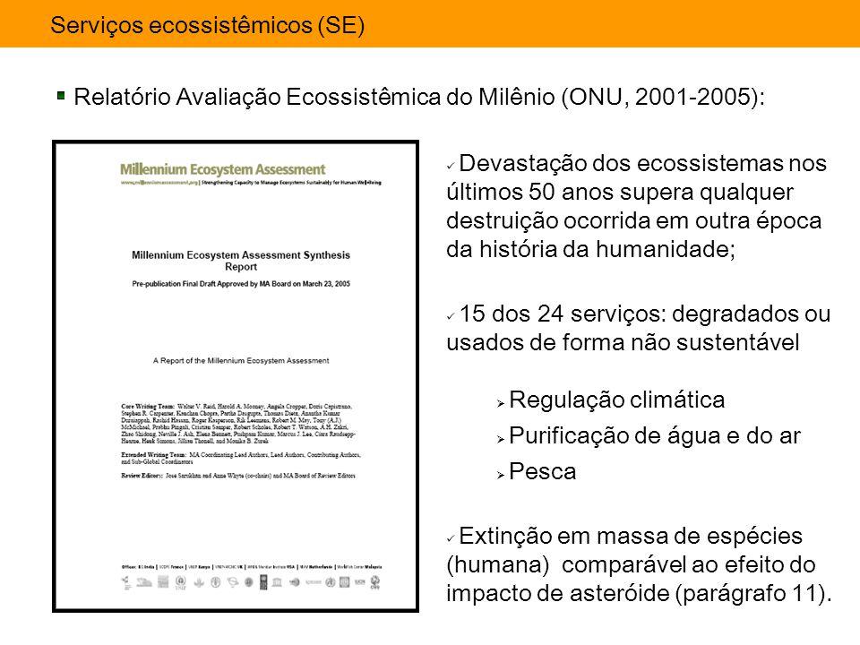 Serviços ecossistêmicos (SE) Relatório Avaliação Ecossistêmica do Milênio (ONU, 2001-2005): 15 dos 24 serviços: degradados ou usados de forma não sust