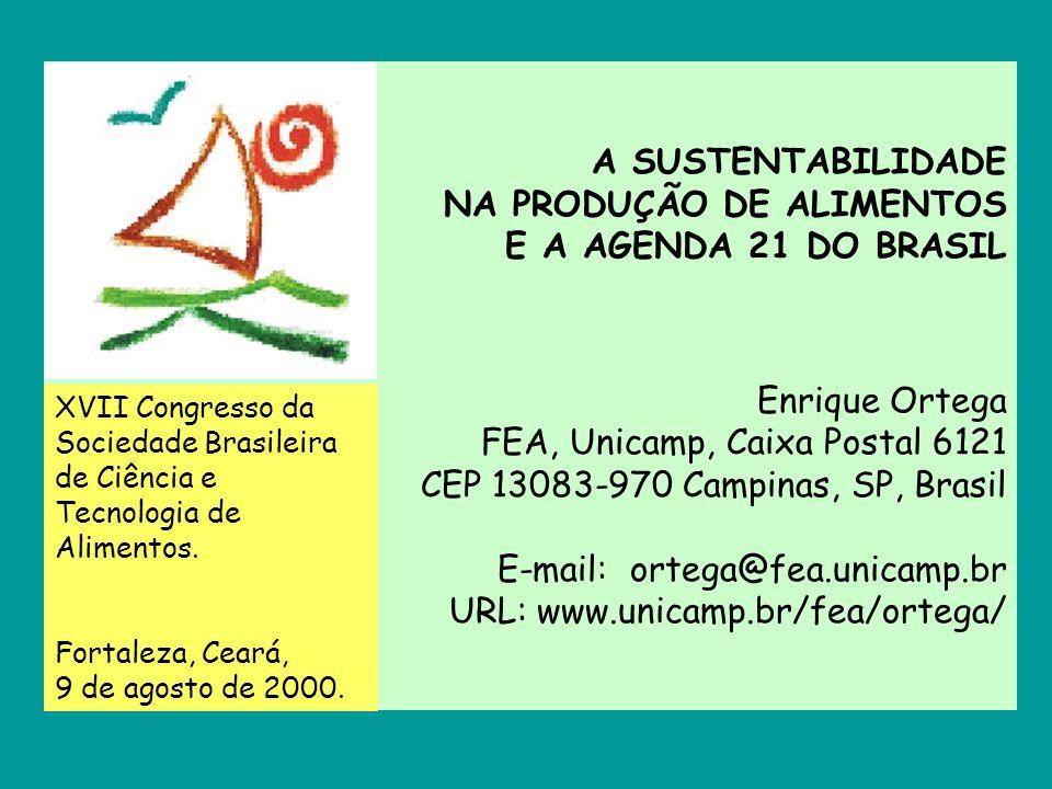 A SUSTENTABILIDADE NA PRODUÇÃO DE ALIMENTOS E A AGENDA 21 DO BRASIL Enrique Ortega FEA, Unicamp, Caixa Postal 6121 CEP 13083-970 Campinas, SP, Brasil