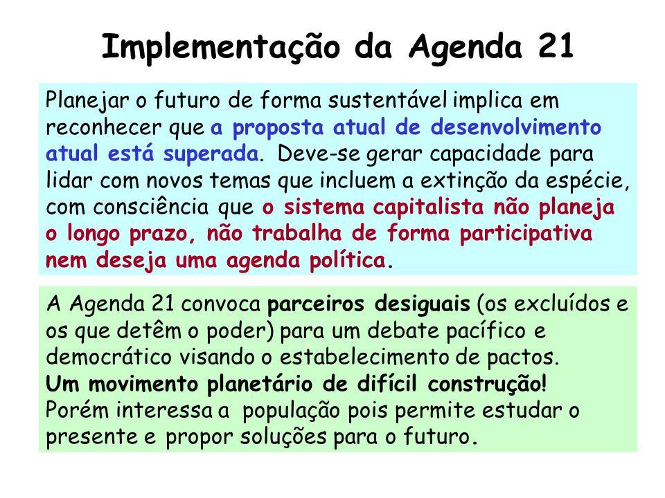 Implementação da Agenda 21 Planejar o futuro de forma sustentável implica em reconhecer que a proposta atual de desenvolvimento atual está superada. D