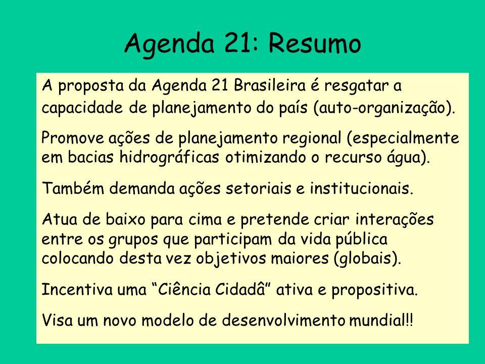 Agenda 21: Resumo A proposta da Agenda 21 Brasileira é resgatar a capacidade de planejamento do país (auto-organização). Promove ações de planejamento