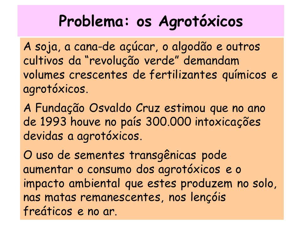 """Problema: os Agrotóxicos A soja, a cana-de açúcar, o algodão e outros cultivos da """"revolução verde"""" demandam volumes crescentes de fertilizantes quími"""
