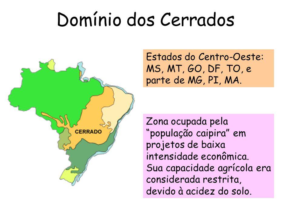 """Domínio dos Cerrados Estados do Centro-Oeste: MS, MT, GO, DF, TO, e parte de MG, PI, MA. Zona ocupada pela """"população caipira"""" em projetos de baixa in"""