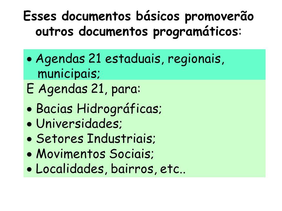 Esses documentos básicos promoverão outros documentos programáticos:  Agendas 21 estaduais, regionais, municipais; E Agendas 21, para:  Bacias Hidro