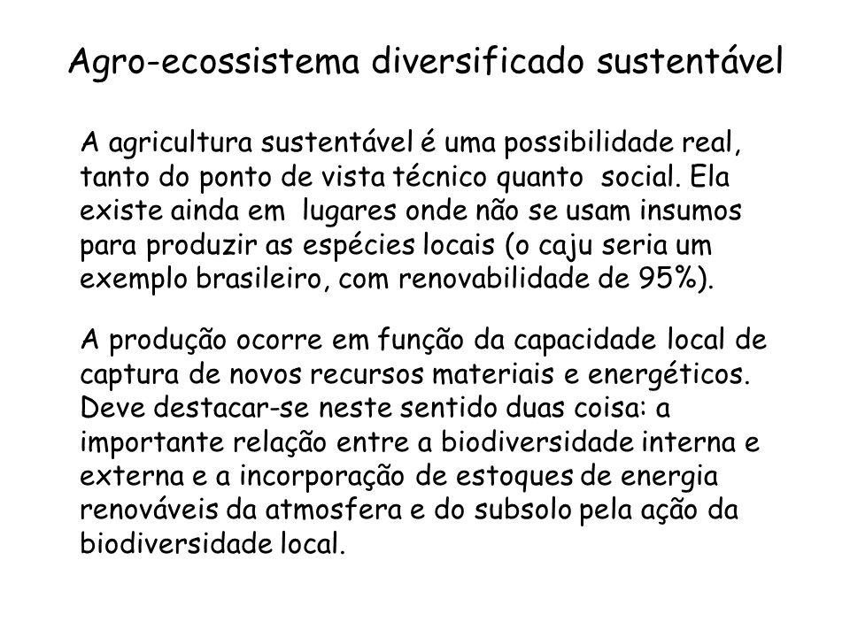 Agro-ecossistema diversificado sustentável A agricultura sustentável é uma possibilidade real, tanto do ponto de vista técnico quanto social. Ela exis