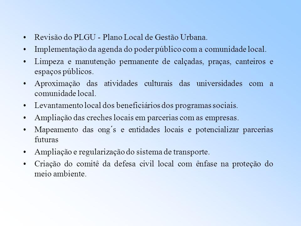 Revisão do PLGU - Plano Local de Gestão Urbana. Implementação da agenda do poder público com a comunidade local. Limpeza e manutenção permanente de ca