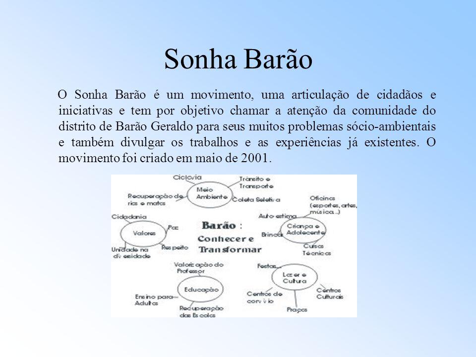 Sonha Barão O Sonha Barão é um movimento, uma articulação de cidadãos e iniciativas e tem por objetivo chamar a atenção da comunidade do distrito de B