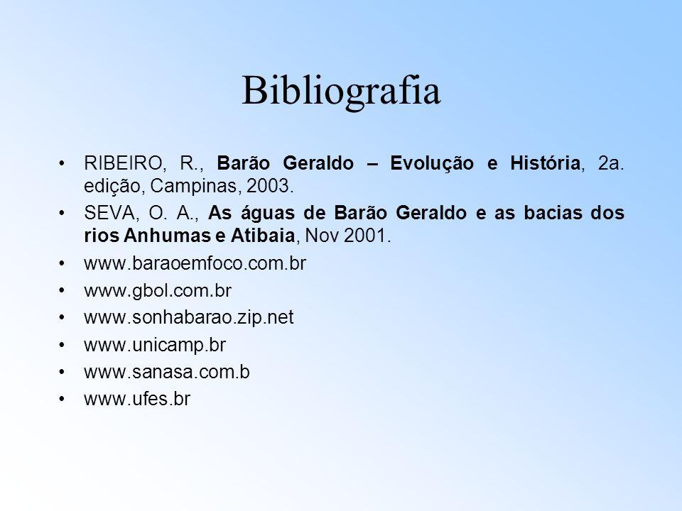 Bibliografia RIBEIRO, R., Barão Geraldo – Evolução e História, 2a. edição, Campinas, 2003. SEVA, O. A., As águas de Barão Geraldo e as bacias dos rios