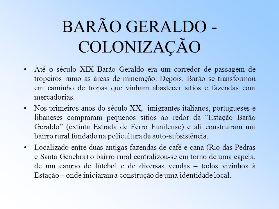 BARÃO GERALDO - COLONIZAÇÃO Até o século XIX Barão Geraldo era um corredor de passagem de tropeiros rumo às áreas de mineração. Depois, Barão se trans