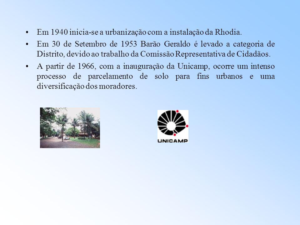 Em 1940 inicia-se a urbanização com a instalação da Rhodia. Em 30 de Setembro de 1953 Barão Geraldo é levado a categoria de Distrito, devido ao trabal