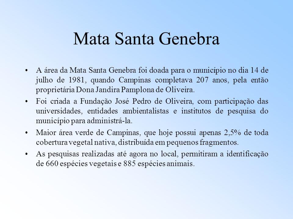 Mata Santa Genebra A área da Mata Santa Genebra foi doada para o município no dia 14 de julho de 1981, quando Campinas completava 207 anos, pela então