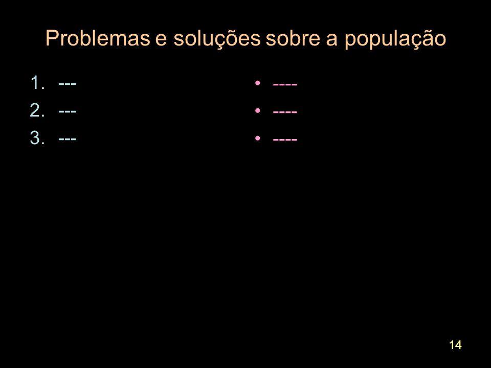 14 Problemas e soluções sobre a população 1.--- 2.--- 3.--- ----