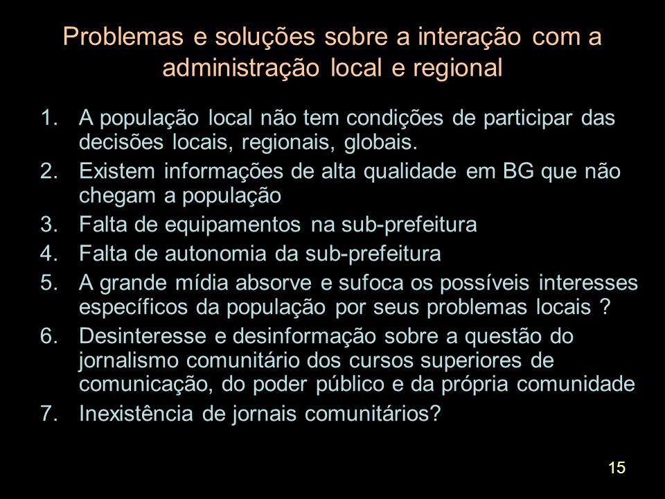 15 Problemas e soluções sobre a interação com a administração local e regional 1.A população local não tem condições de participar das decisões locais, regionais, globais.