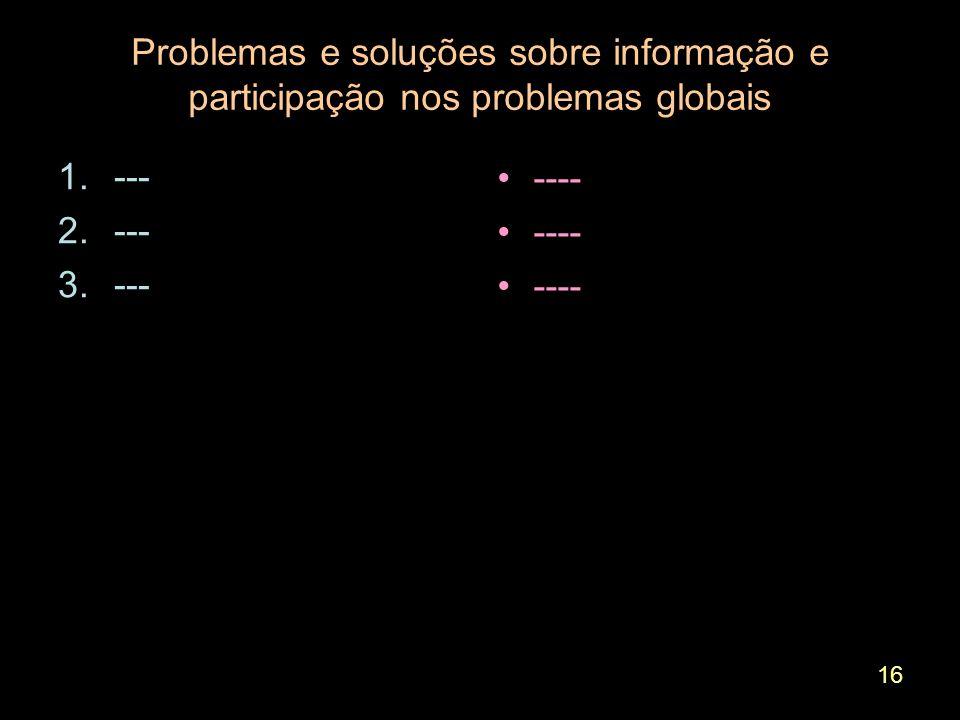 16 Problemas e soluções sobre informação e participação nos problemas globais 1.--- 2.--- 3.--- ----