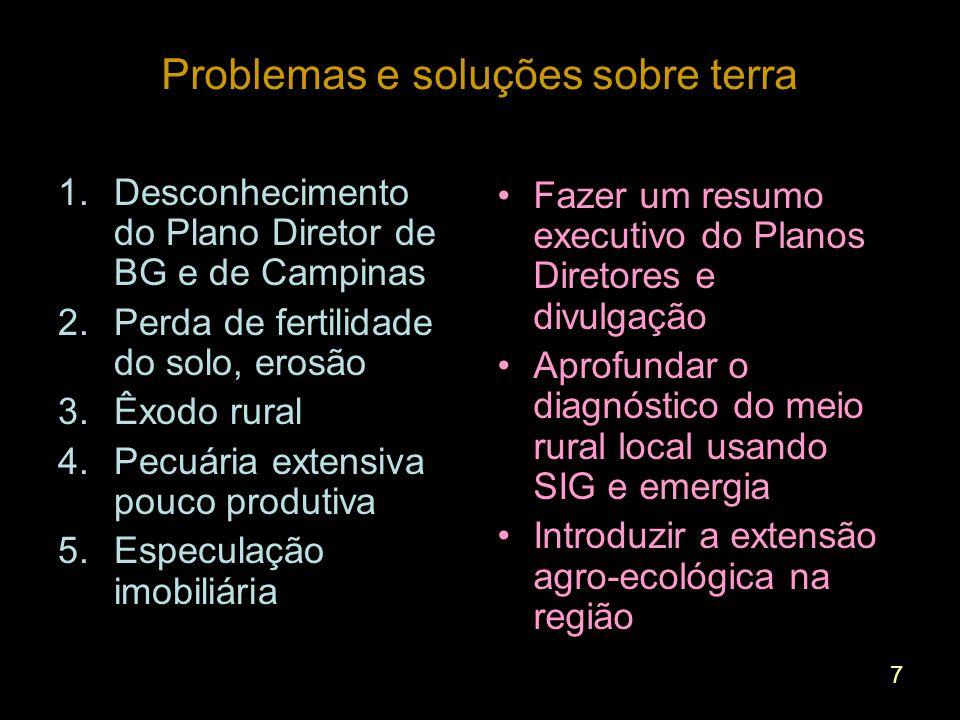 7 Problemas e soluções sobre terra 1.Desconhecimento do Plano Diretor de BG e de Campinas 2.Perda de fertilidade do solo, erosão 3.Êxodo rural 4.Pecuária extensiva pouco produtiva 5.Especulação imobiliária Fazer um resumo executivo do Planos Diretores e divulgação Aprofundar o diagnóstico do meio rural local usando SIG e emergia Introduzir a extensão agro-ecológica na região