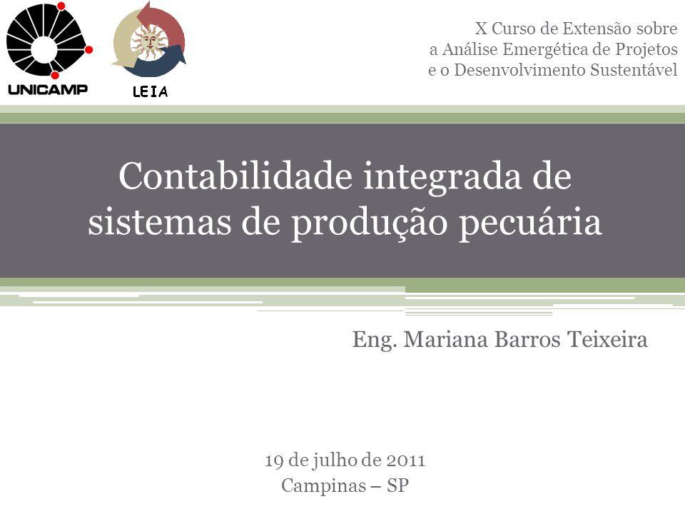 1 Contabilidade integrada de sistemas de produção pecuária Eng. Mariana Barros Teixeira 19 de julho de 2011 Campinas – SP X Curso de Extensão sobre a