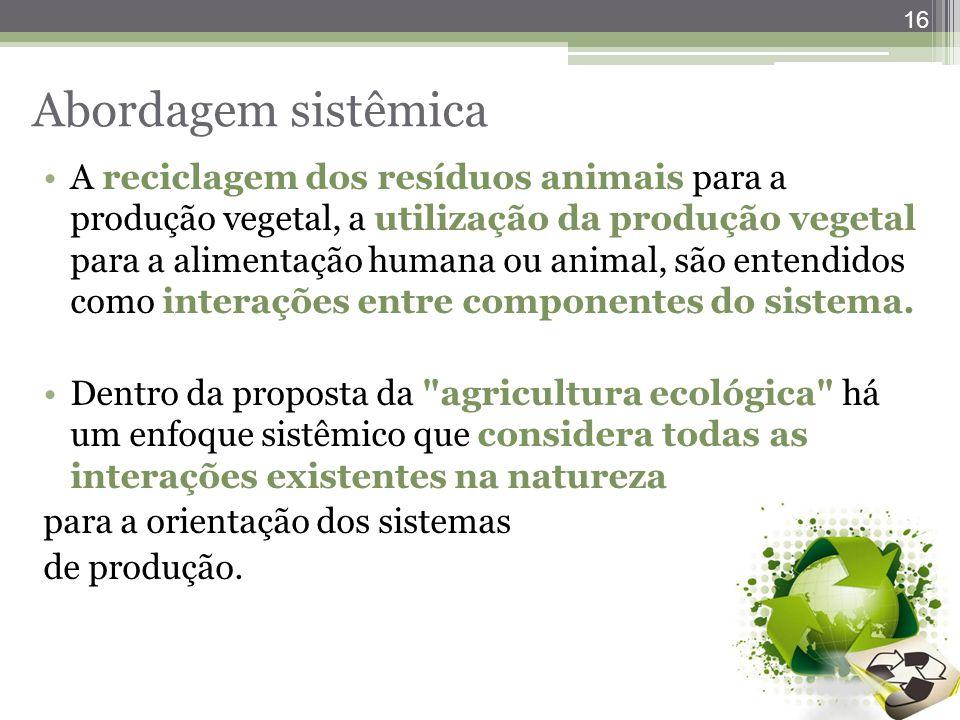 16 Abordagem sistêmica A reciclagem dos resíduos animais para a produção vegetal, a utilização da produção vegetal para a alimentação humana ou animal