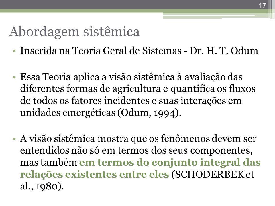 17 Abordagem sistêmica Inserida na Teoria Geral de Sistemas - Dr. H. T. Odum Essa Teoria aplica a visão sistêmica à avaliação das diferentes formas de