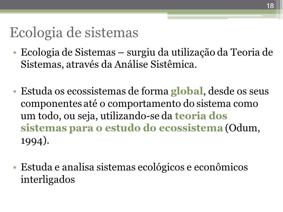 18 Ecologia de sistemas Ecologia de Sistemas – surgiu da utilização da Teoria de Sistemas, através da Análise Sistêmica. Estuda os ecossistemas de for