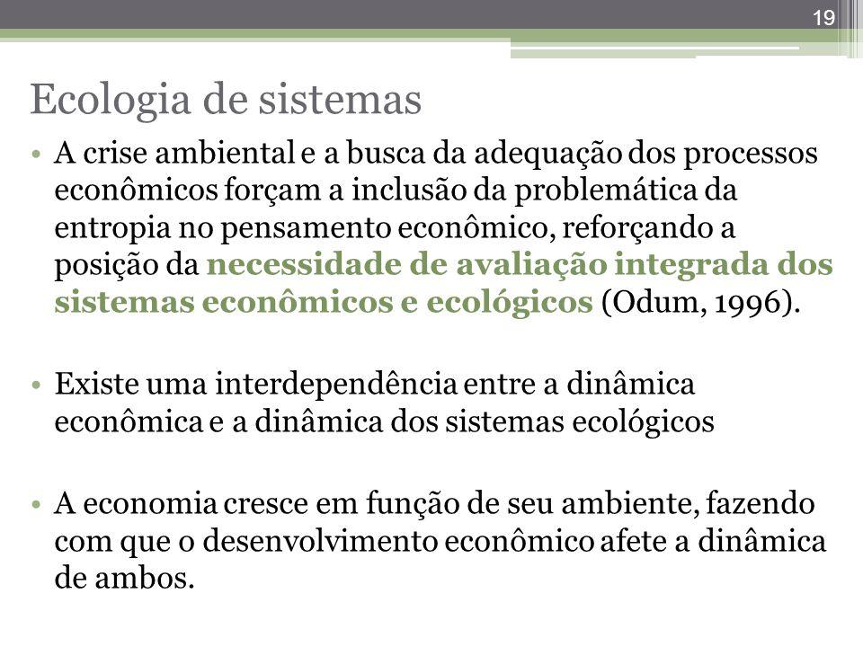 19 Ecologia de sistemas A crise ambiental e a busca da adequação dos processos econômicos forçam a inclusão da problemática da entropia no pensamento