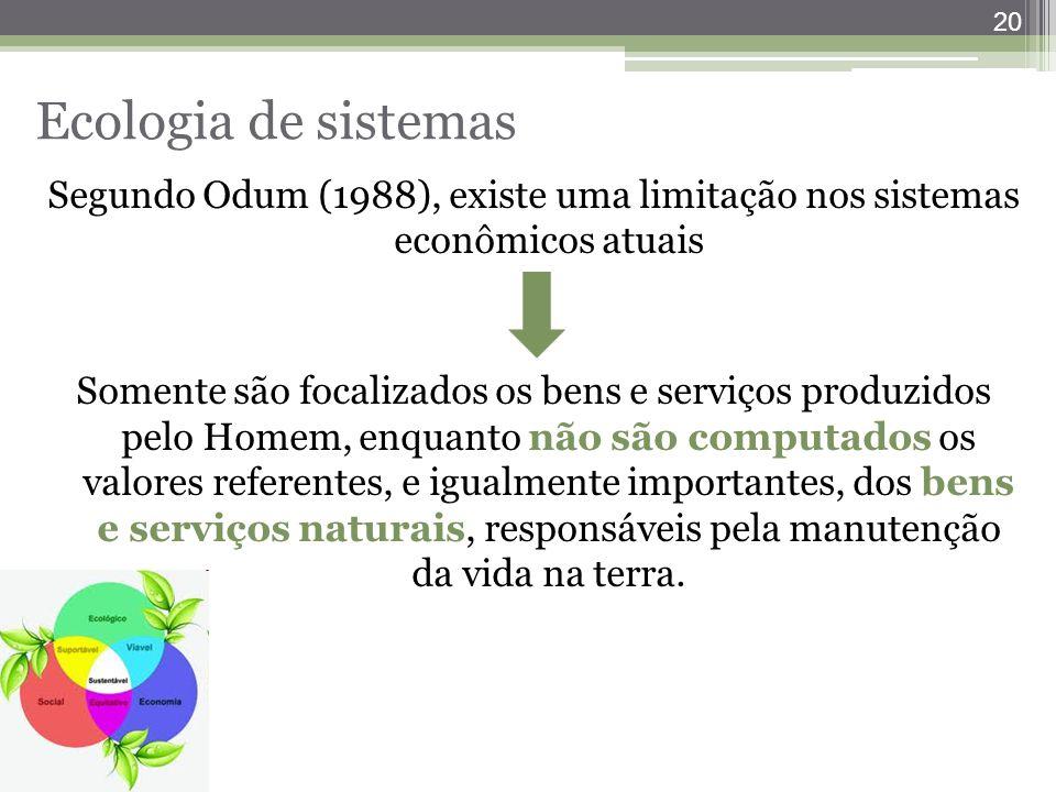 20 Ecologia de sistemas Segundo Odum (1988), existe uma limitação nos sistemas econômicos atuais Somente são focalizados os bens e serviços produzidos