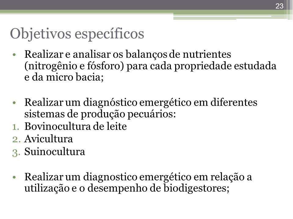 23 Objetivos específicos Realizar e analisar os balanços de nutrientes (nitrogênio e fósforo) para cada propriedade estudada e da micro bacia; Realiza