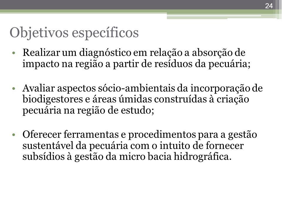 24 Objetivos específicos Realizar um diagnóstico em relação a absorção de impacto na região a partir de resíduos da pecuária; Avaliar aspectos sócio-a