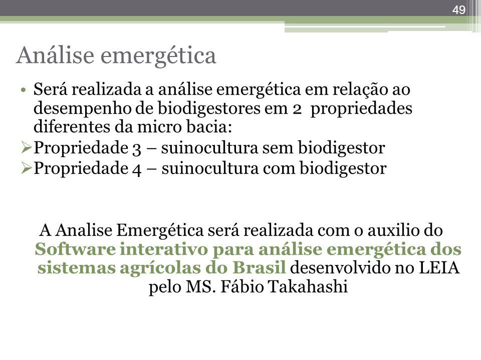 49 Será realizada a análise emergética em relação ao desempenho de biodigestores em 2 propriedades diferentes da micro bacia:  Propriedade 3 – suinoc