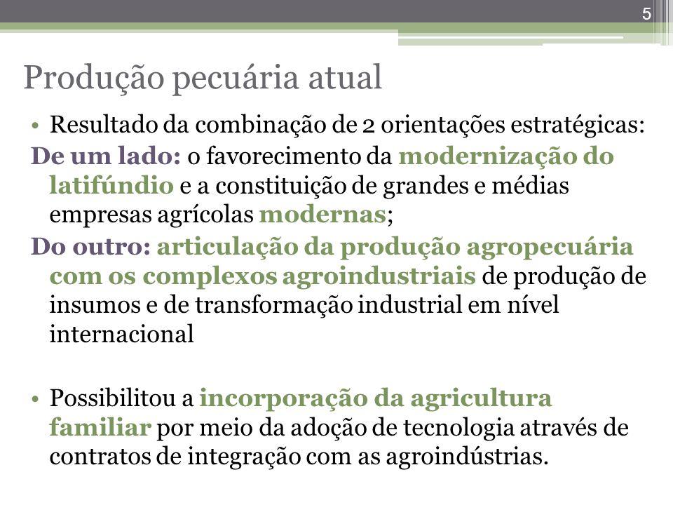 5 Produção pecuária atual Resultado da combinação de 2 orientações estratégicas: De um lado: o favorecimento da modernização do latifúndio e a constit