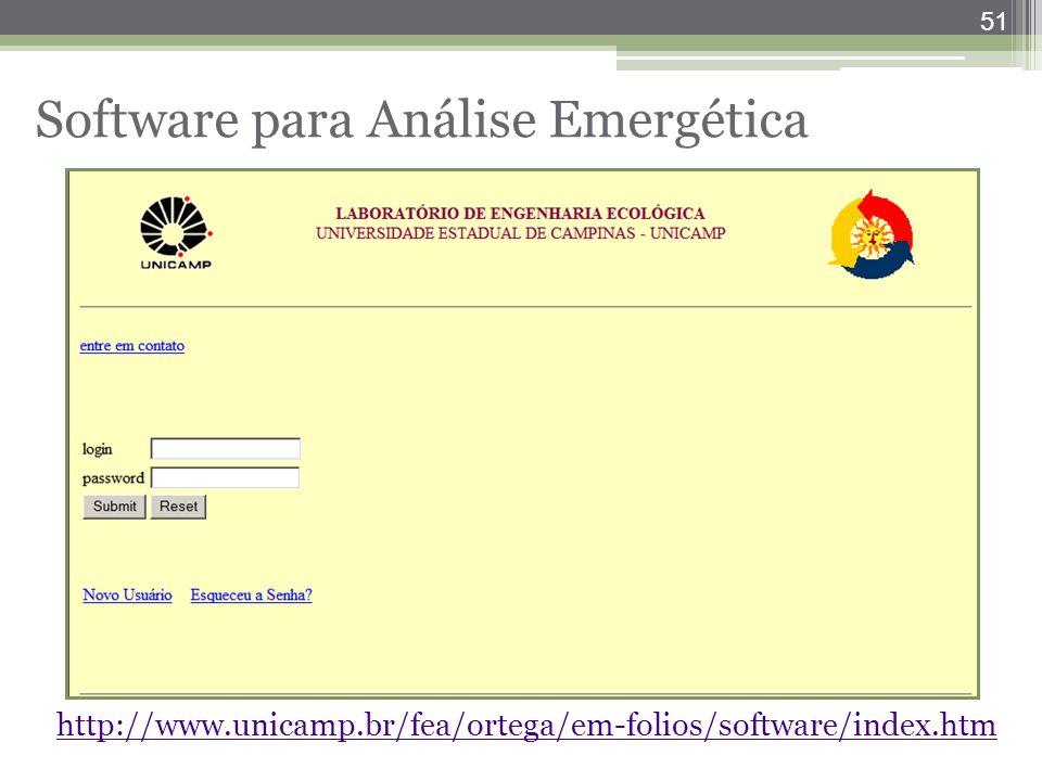 51 Software para Análise Emergética http://www.unicamp.br/fea/ortega/em-folios/software/index.htm