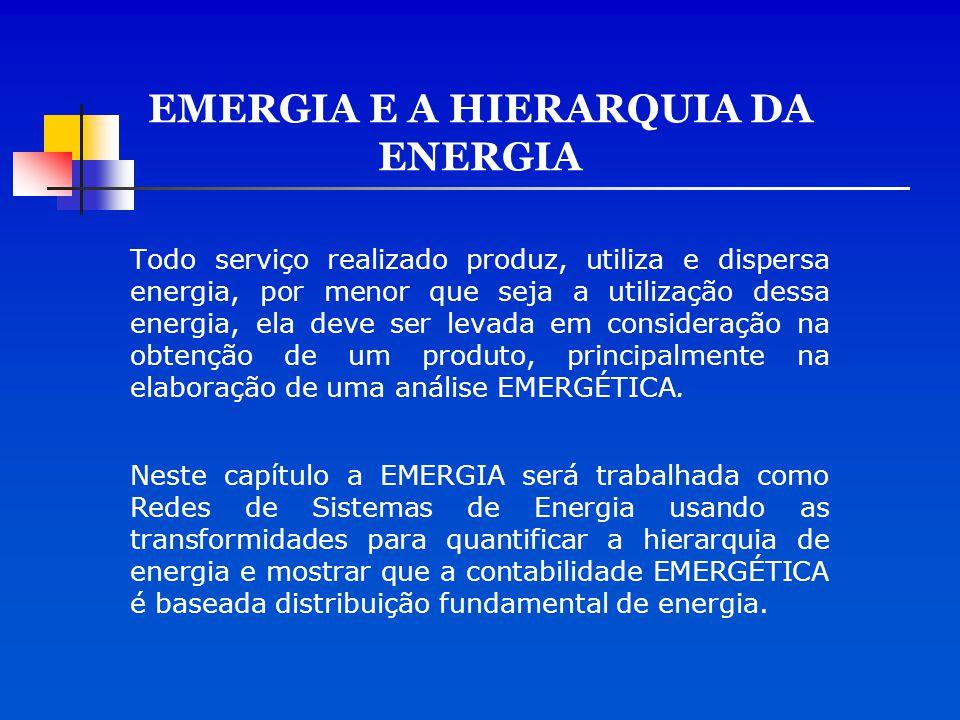 EMERGIA E A HIERARQUIA DA ENERGIA Todo serviço realizado produz, utiliza e dispersa energia, por menor que seja a utilização dessa energia, ela deve s