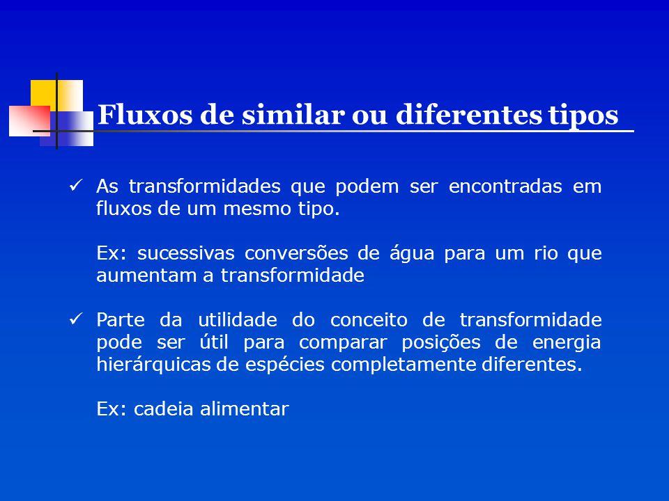 As transformidades que podem ser encontradas em fluxos de um mesmo tipo. Ex: sucessivas conversões de água para um rio que aumentam a transformidade P