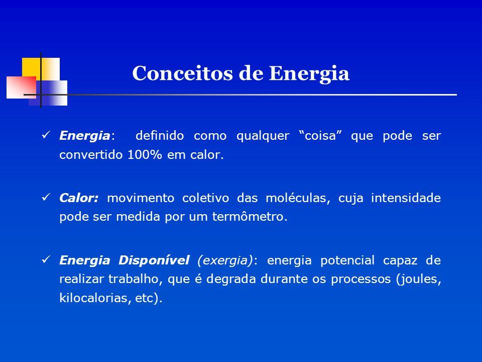 Sucessivas diminuições de energia nos processos de transformação Se a insolação solar for a única fonte de energia a transformidade solar aumento em porcentagem constante da esquerda para a direita e a EMERGIA solar é constante.
