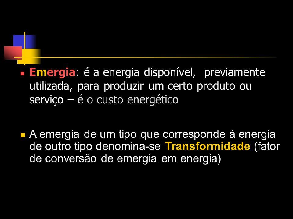 Emergia: é a energia disponível, previamente utilizada, para produzir um certo produto ou serviço – é o custo energético A emergia de um tipo que corresponde à energia de outro tipo denomina-se Transformidade (fator de conversão de emergia em energia)