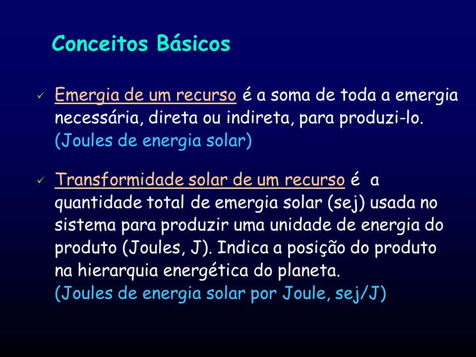 Metodologia Emergia dos produtos Energias que entram Emergias que entram (custo energético dos insumos) Energia dos produtos Energia degradada