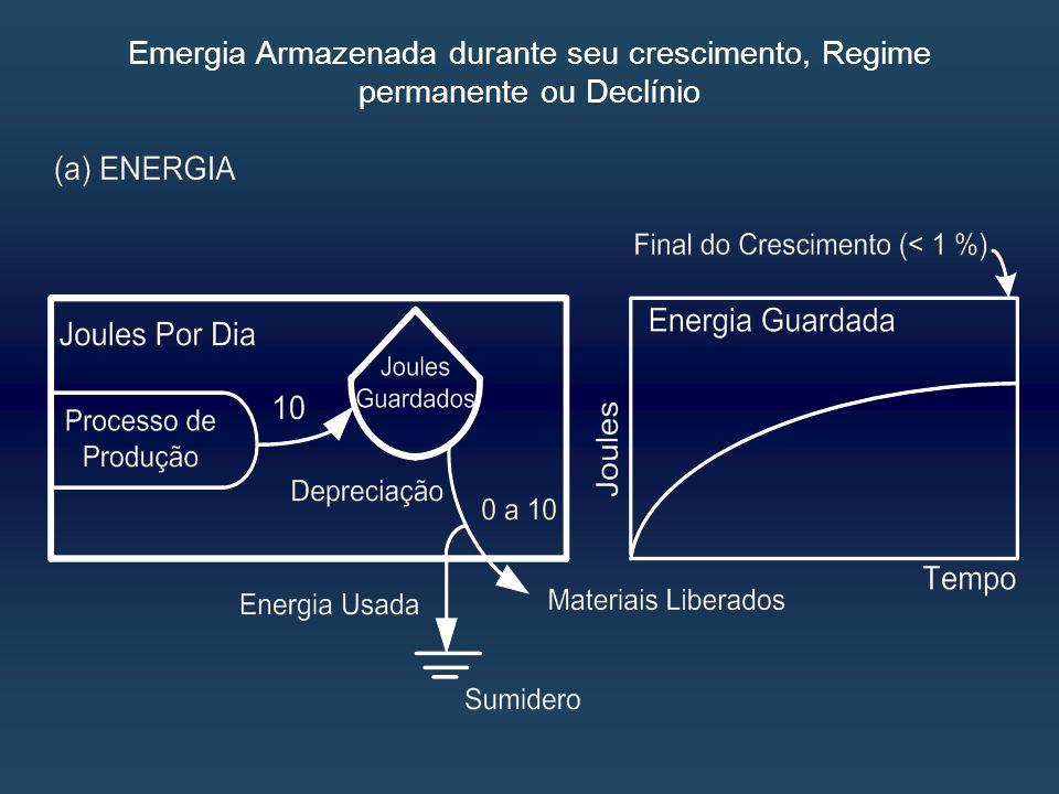 Emergia Armazenada durante seu crescimento, Regime permanente ou Declínio