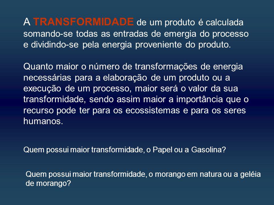 A TRANSFORMIDADE de um produto é calculada somando-se todas as entradas de emergia do processo e dividindo-se pela energia proveniente do produto.