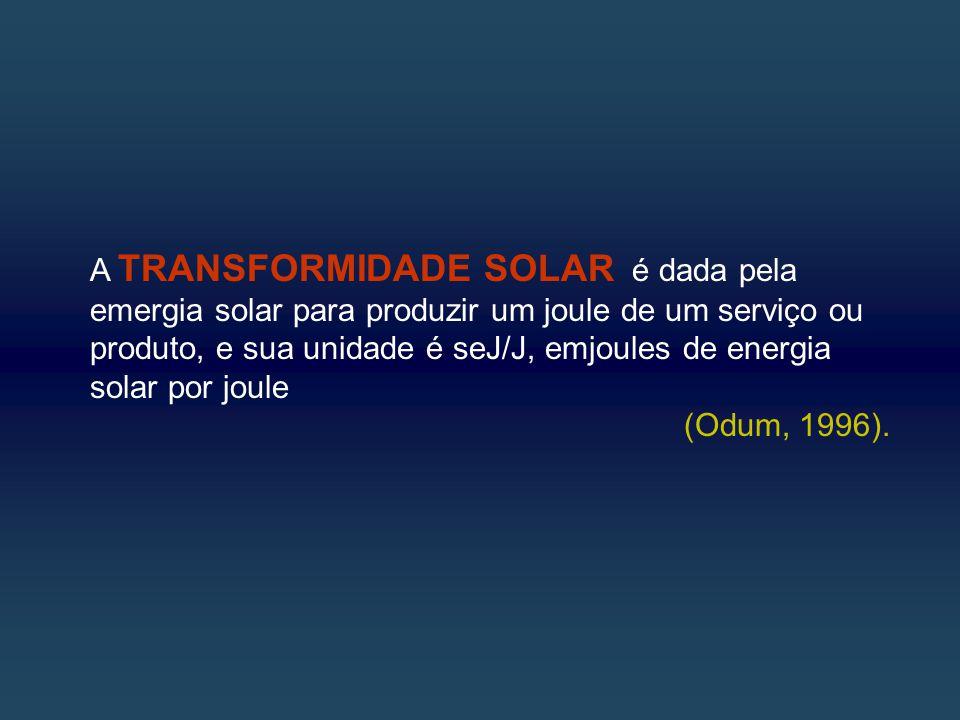 A TRANSFORMIDADE SOLAR é dada pela emergia solar para produzir um joule de um serviço ou produto, e sua unidade é seJ/J, emjoules de energia solar por joule (Odum, 1996).