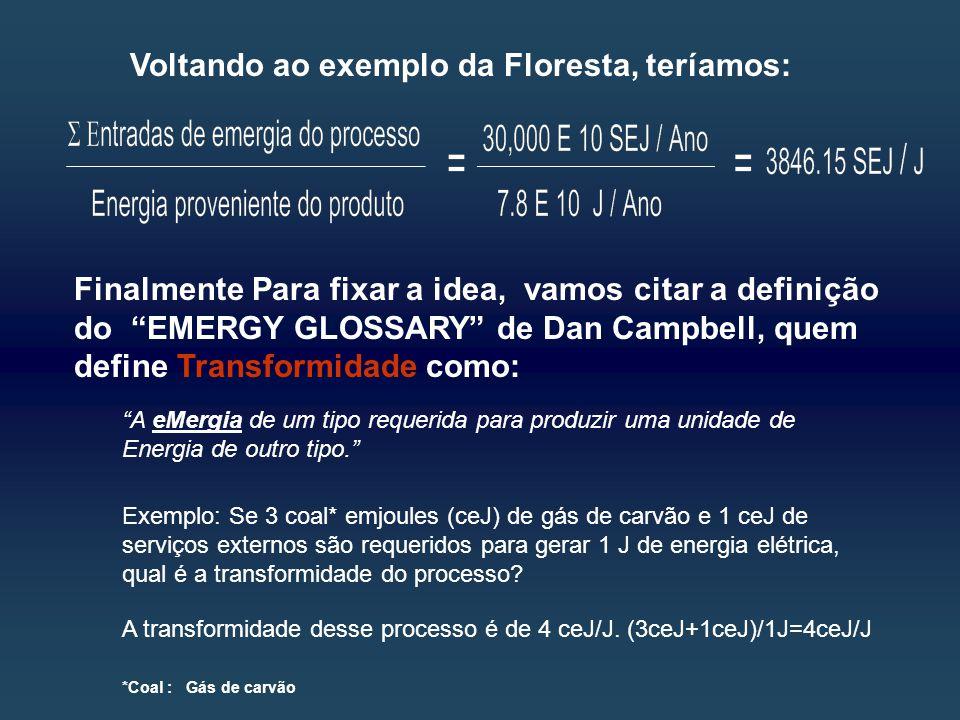 Voltando ao exemplo da Floresta, teríamos: Finalmente Para fixar a idea, vamos citar a definição do EMERGY GLOSSARY de Dan Campbell, quem define Transformidade como: A eMergia de um tipo requerida para produzir uma unidade de Energia de outro tipo. Exemplo: Se 3 coal* emjoules (ceJ) de gás de carvão e 1 ceJ de serviços externos são requeridos para gerar 1 J de energia elétrica, qual é a transformidade do processo.