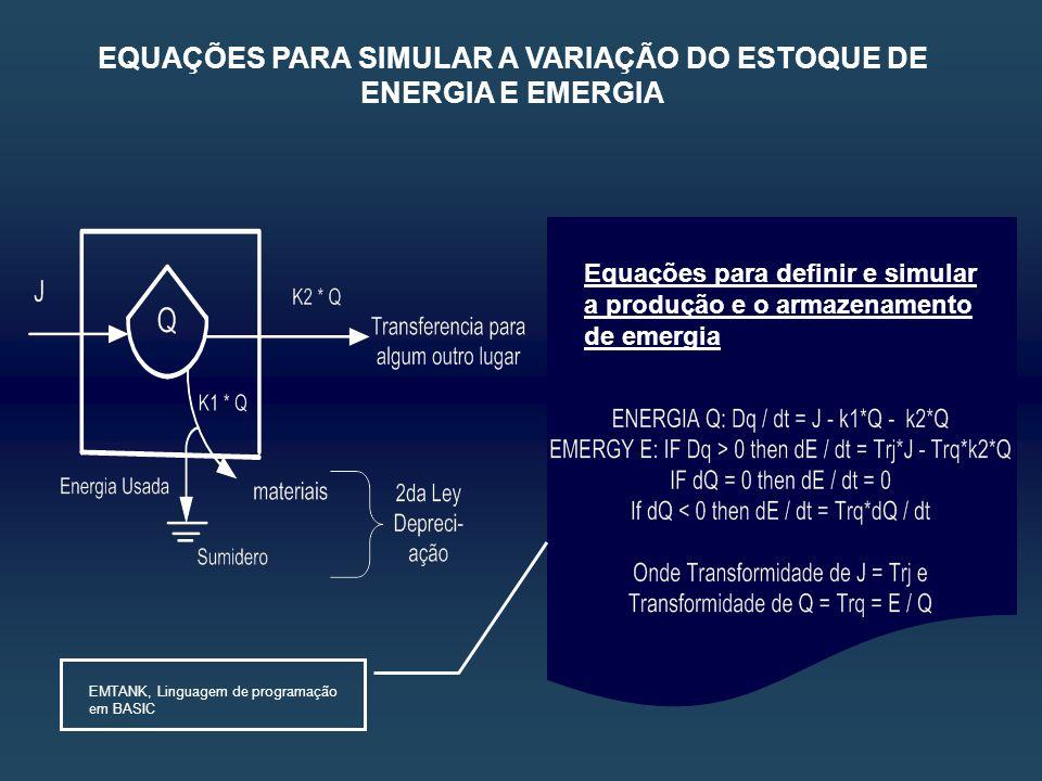 Equações para definir e simular a produção e o armazenamento de emergia EMTANK, Linguagem de programação em BASIC EQUAÇÕES PARA SIMULAR A VARIAÇÃO DO ESTOQUE DE ENERGIA E EMERGIA