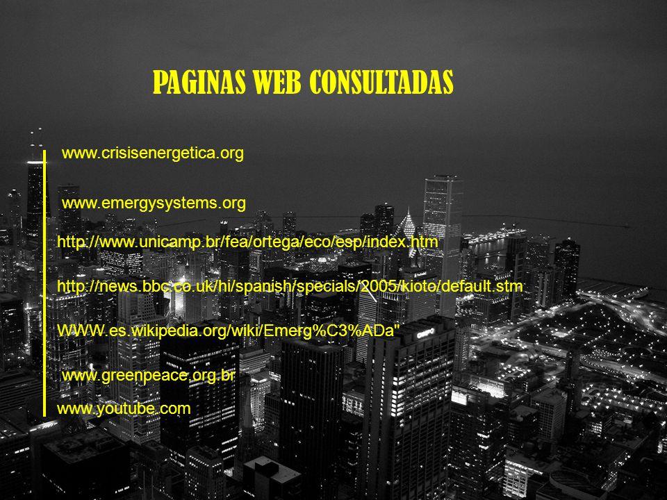 PAGINAS WEB CONSULTADAS www.crisisenergetica.org www.emergysystems.org http://www.unicamp.br/fea/ortega/eco/esp/index.htm http://news.bbc.co.uk/hi/spanish/specials/2005/kioto/default.stm WWW.es.wikipedia.org/wiki/Emerg%C3%ADa www.greenpeace.org.br www.youtube.com