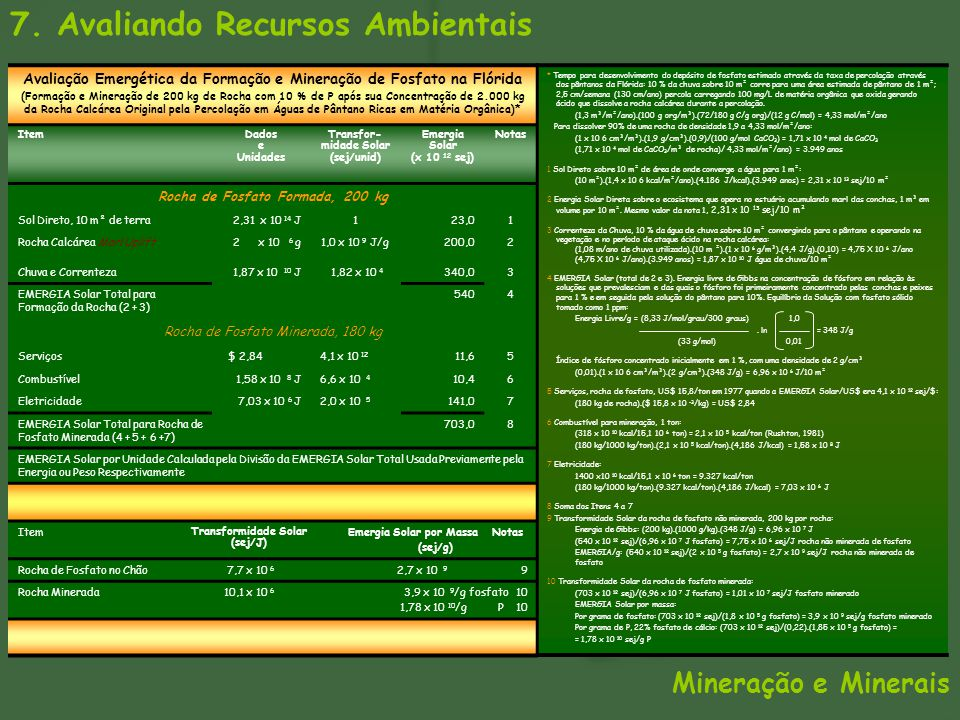 7. Avaliando Recursos Ambientais Avaliação Emergética da Formação e Mineração de Fosfato na Flórida (Formação e Mineração de 200 kg de Rocha com 10 %