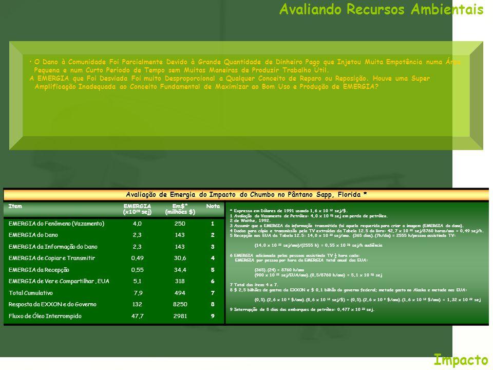 Avaliando Recursos Ambientais Impacto Avaliação de Emergia do Impacto do Chumbo no Pântano Sapp, Florida * ItemEMERGIA (x10 20 sej) Em$* (milhões $) N
