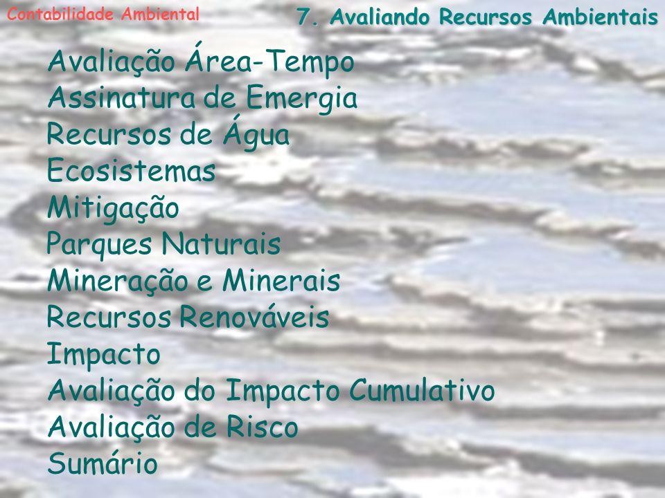 7. Avaliando Recursos Ambientais Avaliação Área-Tempo Assinatura de Emergia Recursos de Água Ecosistemas Mitigação Contabilidade Ambiental Parques Nat