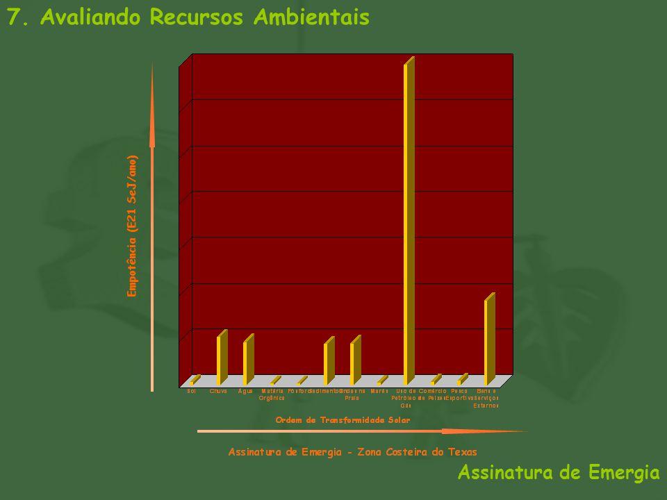 7. Avaliando Recursos Ambientais Assinatura de Emergia Empotência (E21 SeJ/ano)